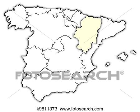 Drawing Of Map Of Spain Aragon Highlighted K9811373 Search