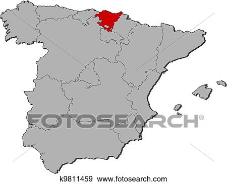 Basque Map Of Spain.Map Of Spain Basque Country Highlighted Clip Art