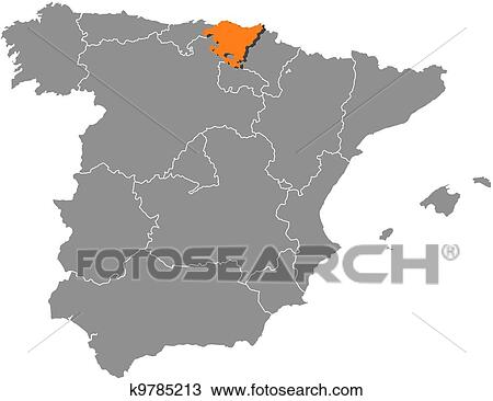 Clipart Of Map Of Spain Basque Country Highlighted K9785213