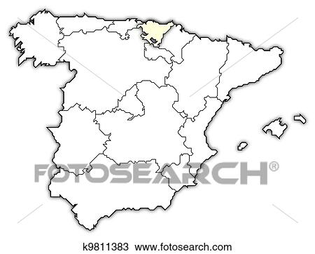 Basque Map Of Spain.Map Of Spain Basque Country Highlighted Stock Image