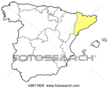 Map Of Spain With Catalonia Highlighted.Map Of Spain Catalonia Highlighted Clip Art