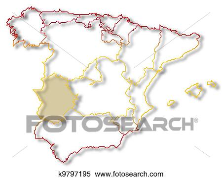 Map Of Spain Extremadura.Map Of Spain Extremadura Highlighted Stock Photography