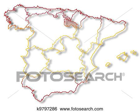 Map Of Spain Rioja.Stock Images Of Map Of Spain La Rioja Highlighted K9797286 Search