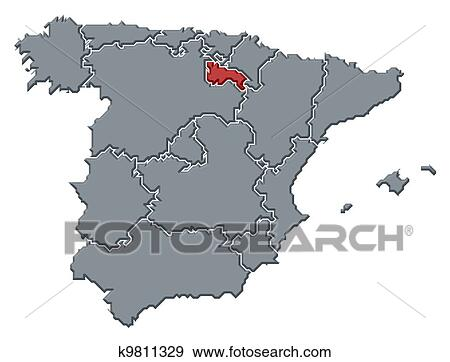 Map Of Spain Rioja.Stock Photograph Of Map Of Spain La Rioja Highlighted K9811329