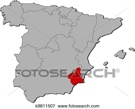 Map Of Spain Murcia.Map Of Spain Murcia Highlighted Clip Art K9811507
