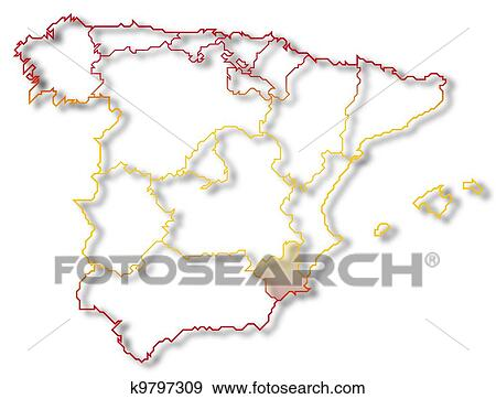 Map Of Spain Murcia.Map Of Spain Murcia Highlighted Stock Illustration