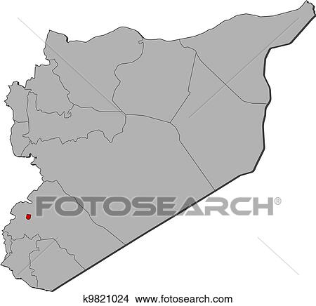Clipart of Map of Syria, Damascus highlighted k9821024 - Search Clip on