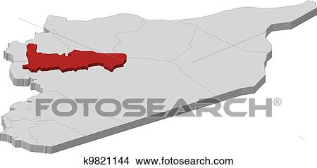 Map of Syria, Hama highlighted Clipart | k9821144 | Fotosearch