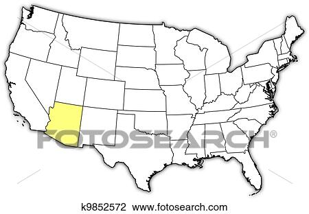 Where Is Arizona On The Us Map.Clipart Of Map Of The United States Arizona Highlighted K9852572