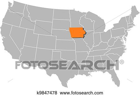 Map of the United States, Iowa highlighted Clip Art ...