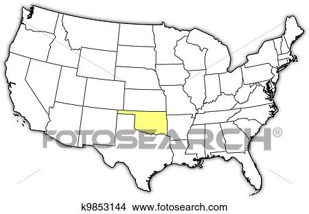 Oklahoma On Map Of United States.Map Of The United States Oklahoma Highlighted Clipart K9853144