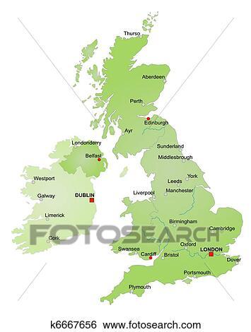 Map Of Ireland United Kingdom.Map Of United Kingdom And Ireland Standartinė Iliustracija