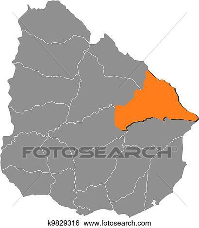 Clip Art of Map of Uruguay, Cerro Largo highlighted k9829316 ...