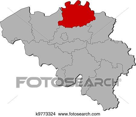 Mapa De Belgica Antuerpia Destacado Clipart K9773324