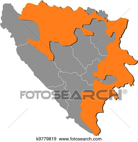 Mapa De Bosnia Y Herzegovina Republika Srpska Destacado Clip