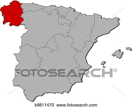 Cartina Spagna Galizia.Mappa Di Spagna Galizia Evidenziato Clipart K9811470 Fotosearch