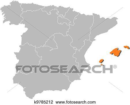 Cartina Spagna Isole Baleari.Mappa Di Spagna Isole Baleari Evidenziato Clipart K9785212 Fotosearch
