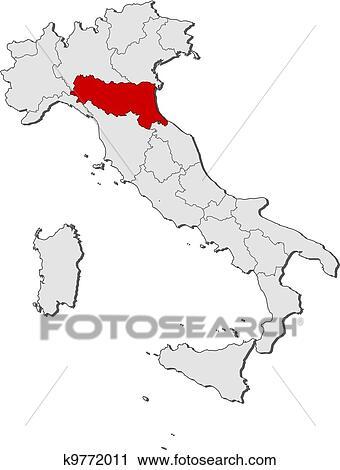 Cartina Italia Emilia Romagna.Mappa Italia Emilia Romagna Evidenziato Clipart