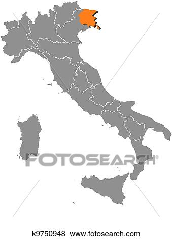 Cartina Italia Friuli Venezia Giulia.Mappa Italia Friuli Venezia Giulia Evidenziato Clip Art