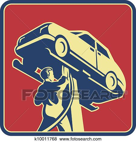 clip art of mechanic technician car repair retro k10011768 search rh fotosearch com car repair clip art free Auto Glass Clip Art