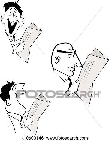 Clip Art Of Men Reading Newspaper K10503146