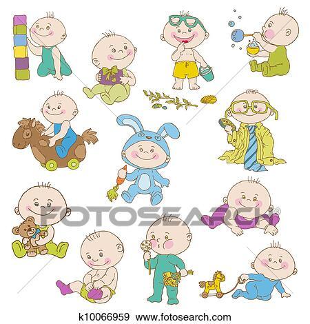 clipart menino beb doodle jogo para desenho scrapbook
