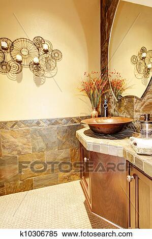 Metallo, lavandino, con, legno, gabinetto, e, pietra, tiles. Archivio  fotografico