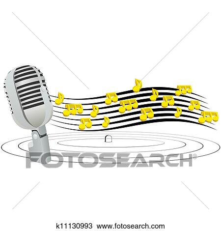Drawing Of Microphone And Music Notes K11130993 Search Clipart