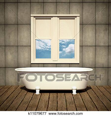 Minimalist Bathtub In A Retro Bathroom Stock Illustration
