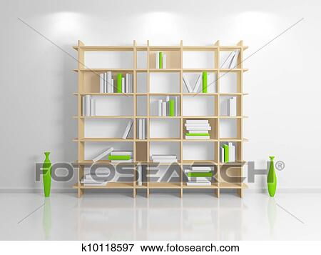 Modern Interior Composition With A Beige Bookshelf 3d Rendered
