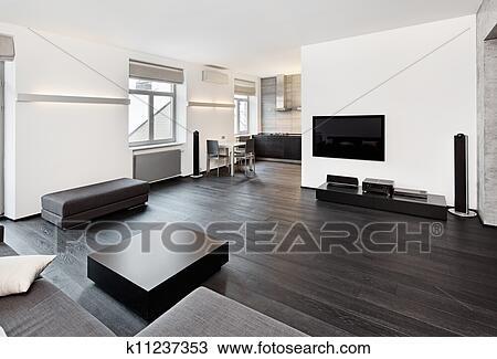Modernes, minimalismus, stil, wohnzimmer, innere, in, schwarz weiß, töne  Stock Bild