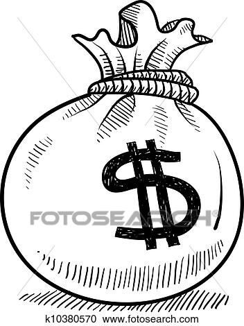 Clipart Money Bag Sketch Fotosearch Search Clip Art Ilration Murals Drawings