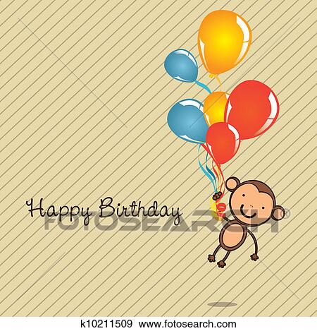 Clip Art Of Monkey Birthday Card K10211509 Search Clipart