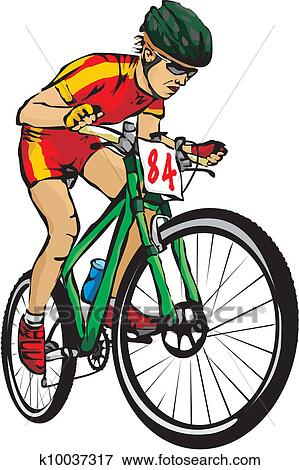 Clip Art Of Mountain Bike K10037317 Search Clipart Illustration