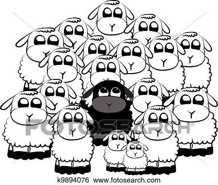 Clipart mouton noir k9894076 recherchez des cliparts - Dessin mouton rigolo ...