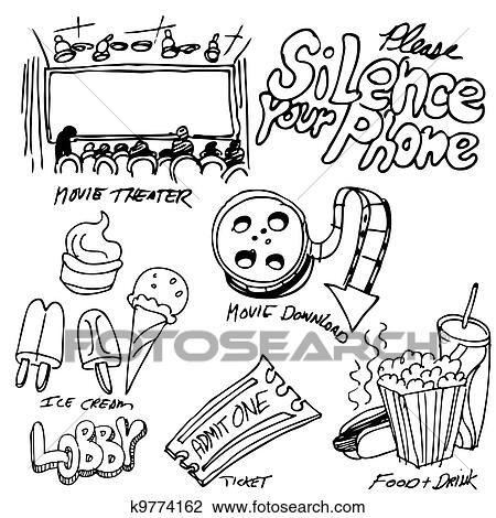 Movie Theater Object Set Clipart