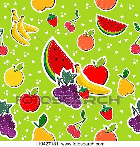 Clipart - nähen, früchte, in, block, farben, seamless, muster ...