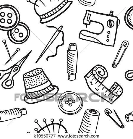 Clip Art - nähen, seamless, muster, -, hand, gezeichnet, abbildung ...