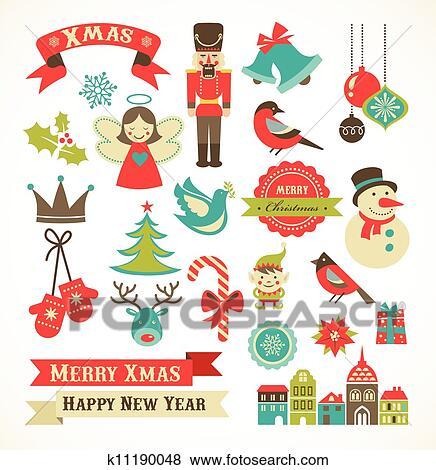 Natale, retro, icone, elementi, e, illustrazioni Clip Art ...