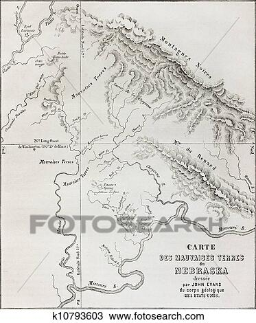 Badlands Nebraska Map.Drawing Of Nebraska Badlands Map K10793603 Search Clipart