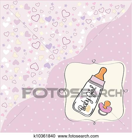 clipart of new baby girl announcement card k10361840 search clip