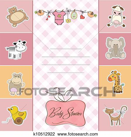 clipart of new baby girl announcement card k10512922 search clip