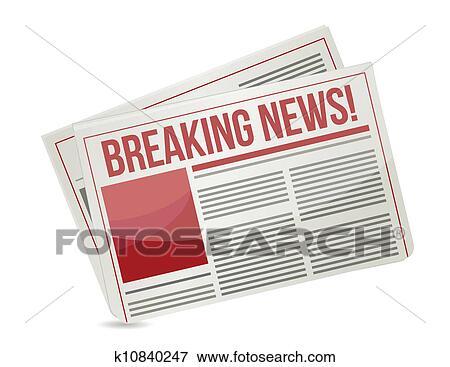 Clip Art Of Newspaper Headline Breaking News K10840247