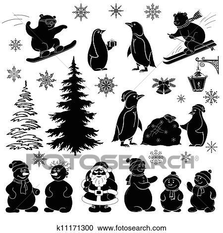 Noël Dessin Animé Ensemble Noir Silhouettes Clipart