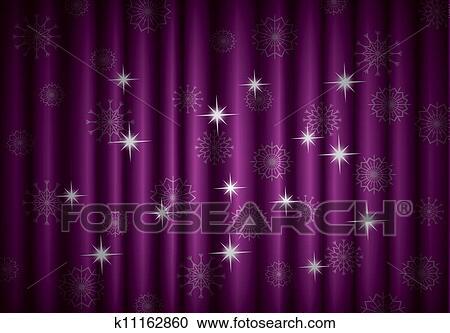 Clipart - noël, rideau violet, fond, à, flocons neige, eps10 ...