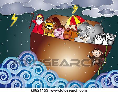 Noah Ark Drawing K9821153 Fotosearch