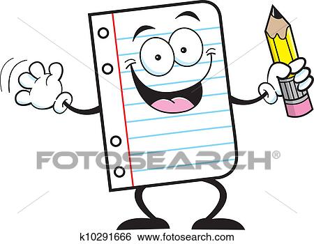 Clip Art Of Notebook Paper Holding A Pencil K10291666 Search