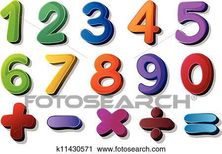Clipart Of Numbers And Maths Symbols K11430571 Search Clip Art