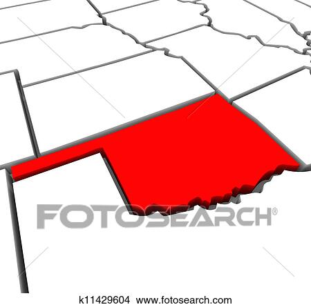 Drawings of Oklahoma Red Abstract 3D State Map United States America ...