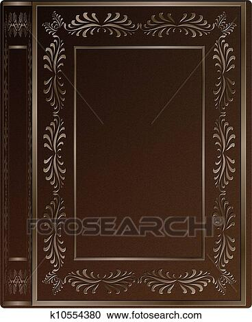 A Brown Leather Hard Cover Of An Old Book With Engravings